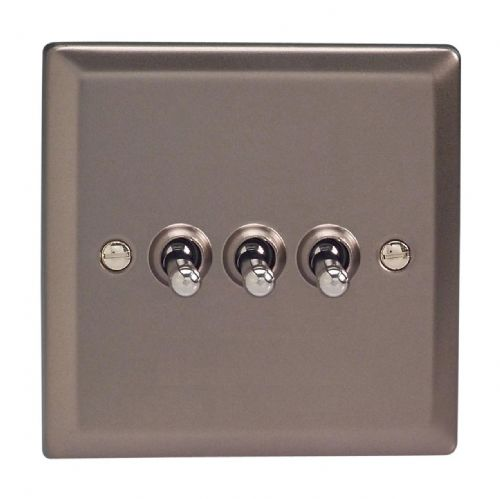 Varilight XRT3 Classic Pewter 3 Gang 10A 1 or 2 Way Toggle Light Switch